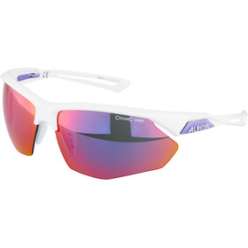 Alpina Nylos HR Glasses white purple/purple mirror